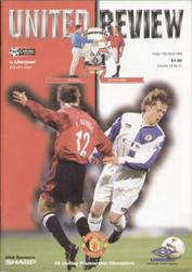 original Official programme for the Premier League match Manchester United V Liverpool played on 10 April 1998 at Old Trafford.