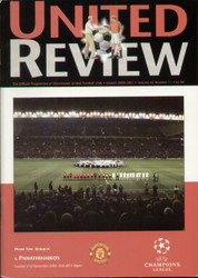 original Official programme for the Champions League match Manchester United V Panathinaikos played on 21 November 2000 at Old Trafford.
