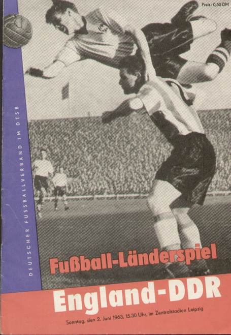 original Official programme for the international match East Germany (DDR) V England played on 2 June 1963 in Leipzig.