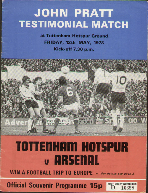 On offer is an original programme for the Pat Jennings Testimonial, the match Tottenham Hotspur V Arsenal was played at White hart Lane on 23 November 1976.