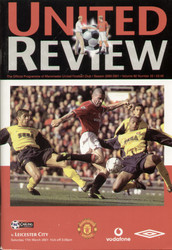 original Official programme for the Premier League match Manchester United V Leicester City played on 17 March 2001 at Old Trafford.