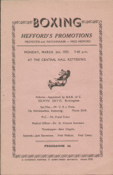 original Official boxing programme for bouts held in Kettering 5 March 1951.