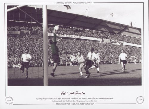 England goalkeeper Colin McDonald at full stretch to make a one handed save during a Group D clash with the eventual winners Brazil, in the 1958 World Cup Finals in Gothenburg, Sweden. The game ended in a scoreless draw.