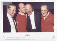 15th May 1968, Manchester United's Jimmy Murphy (assistant manager), Bobby Charlton (captain), Matt Busby (manager) and Jack Crompton (trainer) celebrate after securing their place in the 1968 European Cup Final, after a thrilling 3-3 draw with the mighty Real Madrid, with goals from Zoco (o.g.), Sadler & Foulkes.