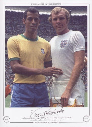 Brazil captain Carlos Alberto poses with his England counterpart Bobby Moore, prior to their World Cup match at the Jalisco Stadium in Guadalajara, June 7th 1970. Great addition to any collection.