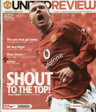original Official programme for the Premier League match Manchester United V Newcastle United played on 11 January 2004 at Old Trafford.