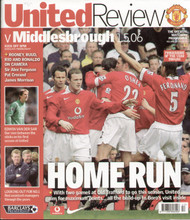 original Official programme for the Premier League match Manchester United V Middlesbrough played on 1 May 2006 at Old Trafford.