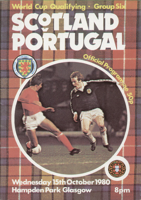 original Official programme for the international match Scotland V Portugal played on 15 October 1980 at Hampden Park.