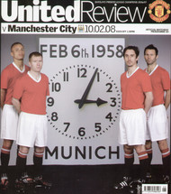 original Official programme for the Premier League match Manchester United V Manchester City played on 10 February 2008 at Old Trafford.