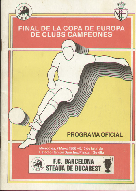 original Official 1986 European Cup Final programme. The game, Barcelona V Steaua De Bucarest was played on 7 May 1986 in Sevilla