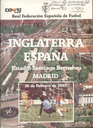 original Official programme for the International match Spain V England, the game was played on 18 February 1987 in Madrid.