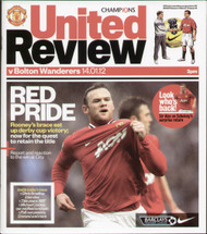 original Official programme for the Premier League match Manchester United V Bolton Wanderers played on 14 January 2012 at Old Trafford.
