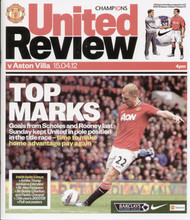 original Official programme for the Premier League match Manchester United V Aston Villa played on 15 April 2012 at Old Trafford.