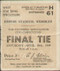 Official 1949 FA Cup Final match ticket stubb from the game Wolverhampton Wanderers V Leicester City played at Wembley on 30 April 1949.