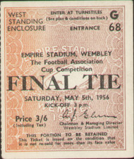 original Official 1956 FA Cup Final match ticket stubb from the game Manchester City V Birmingham City played at Wembley on 5 May 1956.