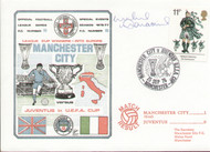 original first day cover to celebrate Manchester City in Europe, issued in September 1976. Complete with filler card. The cover has been signed by Willie Donachie and is one of 250 issued.