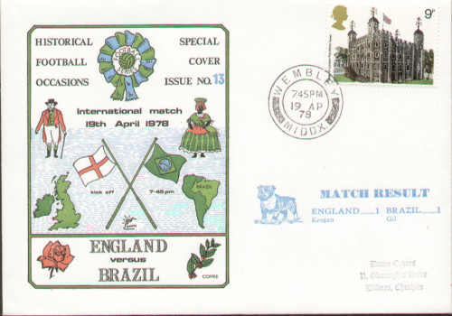 original first day cover to celebrate the International match England V Brazil. Issued April 1978. Complete with filler card.