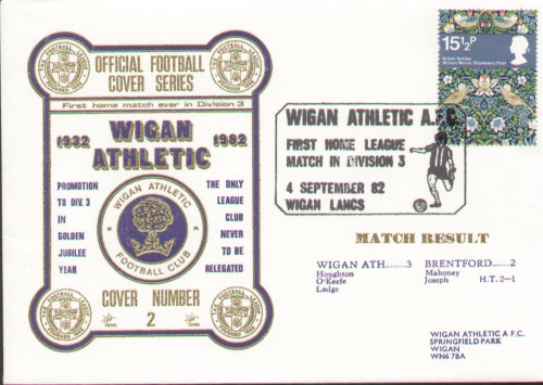 original first day cover to celebrate Wigan Athletic's 1st ever game in Division III, issued in September 1982. Complete with filler card.