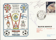 original first day cover to celebrate the International match England V Finland. Issued October 1984. Complete with filler card. The cover has been signed by Mark Wright & Bryan Robson.