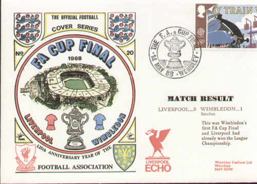 original first day cover to celebrate The FA Cup Final 1988, Liverpool V Wimbledon, issued in May 1988. Complete with filler card.