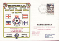 original first day cover to celebrate Kuusysi Lahti V Liverpool in the UEFA Cup, issued in October 1991 and cancelled in Helsinki. Complete with original filler card.
