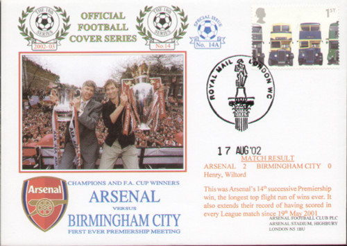 original first day cover to celebrate Arsenal's first ever premiership meeting with Birmingham City, issued in August 2002. Complete with filler card.