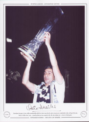 Tottenham Hotspur's Ossie Ardiles proudly holds aloft the UEFA Cup after his sides victory over Anderlecht in the 2nd leg of the 1984 Final at White Hart Lane. A penalty shoot-out was required after the sides played out two 1-1 draws.