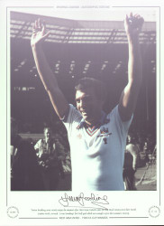 Trevor Brooking, arms raised, enjoys the moment after West Ham United's 1980 FA Cup Final victory over London rivals, Arsenal. It was Brooking's first half goal which was enough to give the Hammers victory.