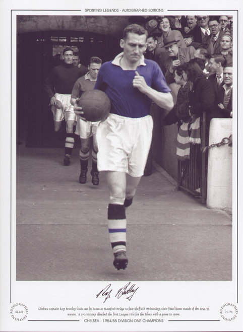 Roy Bentley leads out Chelsea V Sheffield Wednesday 1955