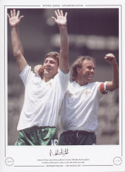 Sammy McIlroy congratulates goalscorer Norman Whiteside after his goal for Northern Ireland against Algeria in the 1986 World Cup Finals.