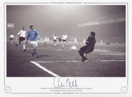 Manchester City's Colin Bell cooly slots home his 2nd and City's 5th goal against Lierse of Belgium during a European Cup Winners Cup tie at Maine Road, 1969.