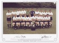 The Tottenham Hotspur team pose for a group photograph, August 1963. The previous May, Tottenham defeated Athletico Madrid by 5 goals to 1, in the European Cup Winners Cup Final in Rotterdam, with goals from Jimmy Greaves (2), Terry Dyson (2) & John White.