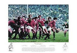 Great picture with legend detailing the famous exploits of the victorious British Lions Rugby Union tour to South Africa in 1974, includes details of all the tests. This Stunning limited edition print taken from the original artwork by renowned artist Robert Highton, is a superb tribute to that team. Signed by: Artist Rob Highton, Mervyn Davies & Willie John McBride