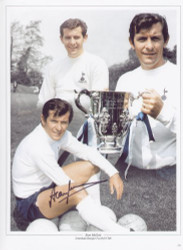 "Alan Mullery made 373 competitive appearances for Spurs. An FA Cup winner in 1967, this coincided with a regular run in the England team and the 1970 World Cup, Mullery took over the Spurs captaincy from Dave Mackay and led the side to the 1971 League Cup. The montage is 16""x12"" (405mm x 305mm) and has been signed by Alan Mullery at a private signing session held at Collectamainia, Earls Court, London on 27/28 November 2009."