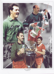 "In 1981 Grobbelaar was propelled to the big time when he was signed by Liverpool manager Bob Paisley for £250,000. With Liverpool, Bruce Grobbelaar won six League titles, a European Cup, three FA Cups and three League Cups, before leaving the club in 1994. The montage is 16""x12"" (405mm x 305mm) and was signed by Bruce Grobelaar at a private signing session held at Collectamainia, Earls Court, London on 27/28 November 2009."