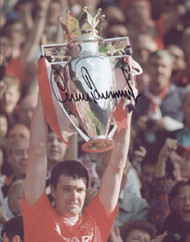 Gary Pallister lifts the FA Premiership Trophy for Manchester United.