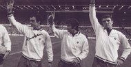 Manchester United team-mates John Aston, George Best and Bill Foulkes salute the crowd prior to the 1968 European Cup Final.