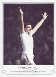West Ham United's Trevor Brooking celebrates his goal against Arsenal in the 1980 FA Cup Final. This proved to be the only game of the game and the Hammers claimed their third FA Cup title.