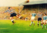 On offer is a limited edition print by renowned artist Brian West. Reinstated Jackie Milburn opens the scoring with a powerful header inside the first minute of play - only able to watch are Dave Ewing, Vic Keeble & Roy Paul.