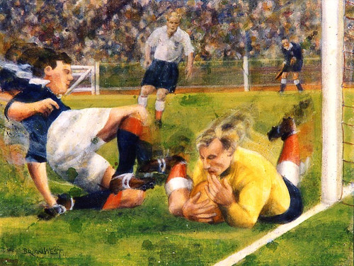 On offer is a limited edition print by renowned artist Brian West. England 7 - Scotland 2, Wembley 1955. Bert Williams bravely saves at the feet of livewire Laurie Riley, watch by Billy Wright.