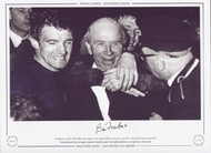Bill Foulkes celebrates with Matt Busby after the 1968 European Cup Final