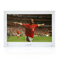 "European Championships, Estadio de Luz 2004, England 4 Croatia 2. Wayne Rooney celebrates the second goal of his stunning brace. This superb limited edition signed picture shows Wayne Rooney celebrating. Part of the Rooney ""Street Striker"" Series."