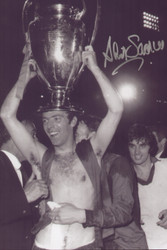 Manchester United's David Sadler celebrates with the 1968 European Cup at Wembley in 1968.