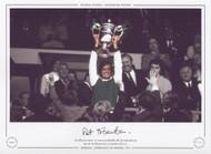 The Hibernian captain Pat Stanton proudly holds aloft the Drybrough Cup, after his side defeated Celtic at Hampden Park in 1972.