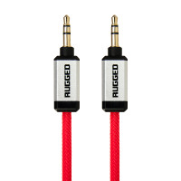 Gecko Rugged Aux Audio Round Cable 1m - Red