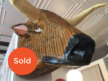 Paper Mache Steer Sculpture