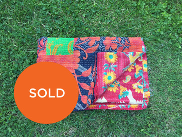 Calendula and Marigold Kantha Blanket