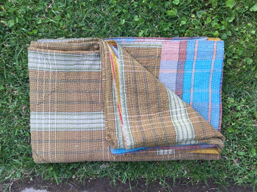 Brown and Blue Plaid Kantha Blanket