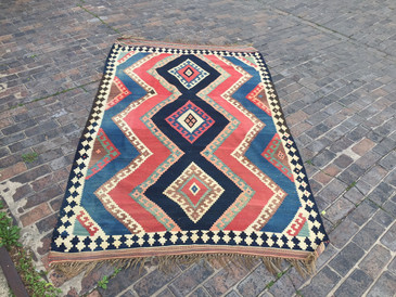 Vintage Navy and Pink Qashqai Kilim