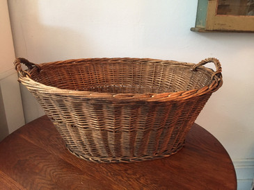 Vintage Large Wicker Laundry Basket 1930s